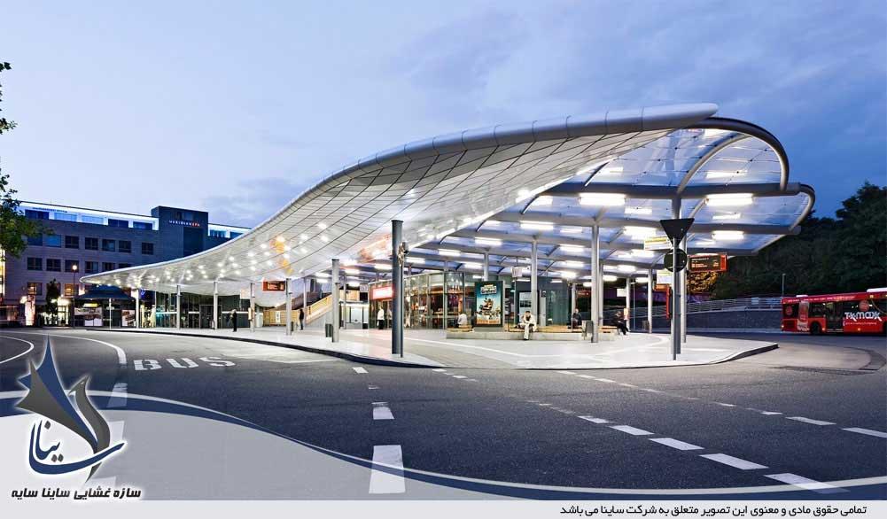 ایستگاه اتوبوس اجرا شده با پارچه ETFE