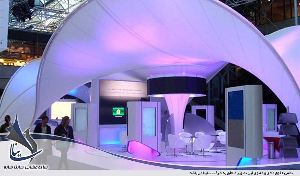 ترکیب نورپردازی مختلف در غرفه نمایشگاه