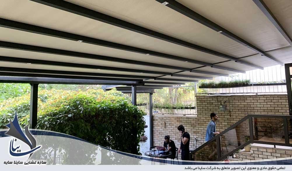 نصب سقف متحرک پارچه ای رستوران