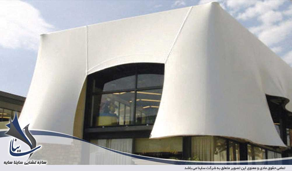 نمای ساختمان با سازه های چادری   پارچه سازه های چادری