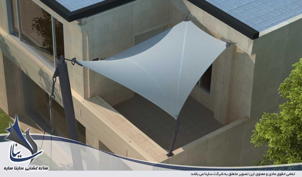 طراحی سه بعدی آلاچیق و سایبان پارچه ای با فرم کایت برای تراس ساختمان
