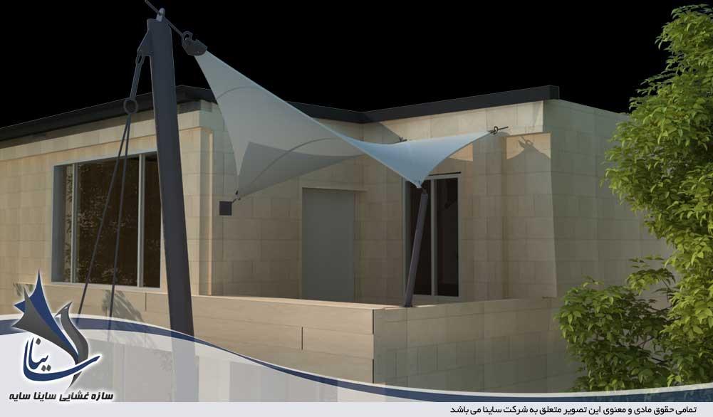 دانلود فایل مدل 3D آلاچیق و سایبان پارچه ای تراس ساختمان با فرم کایت