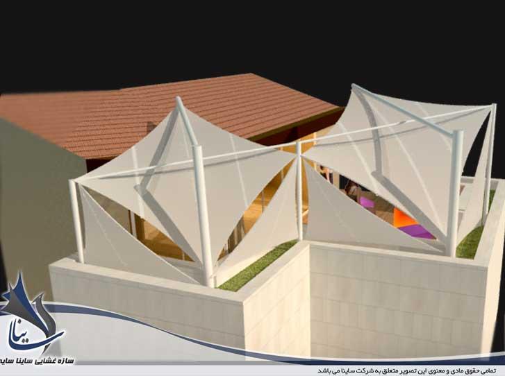 فایل طراحی سه بعدی آلاچیق لاکچری پارچه ای در تراس برج مسکونی - پل رومی