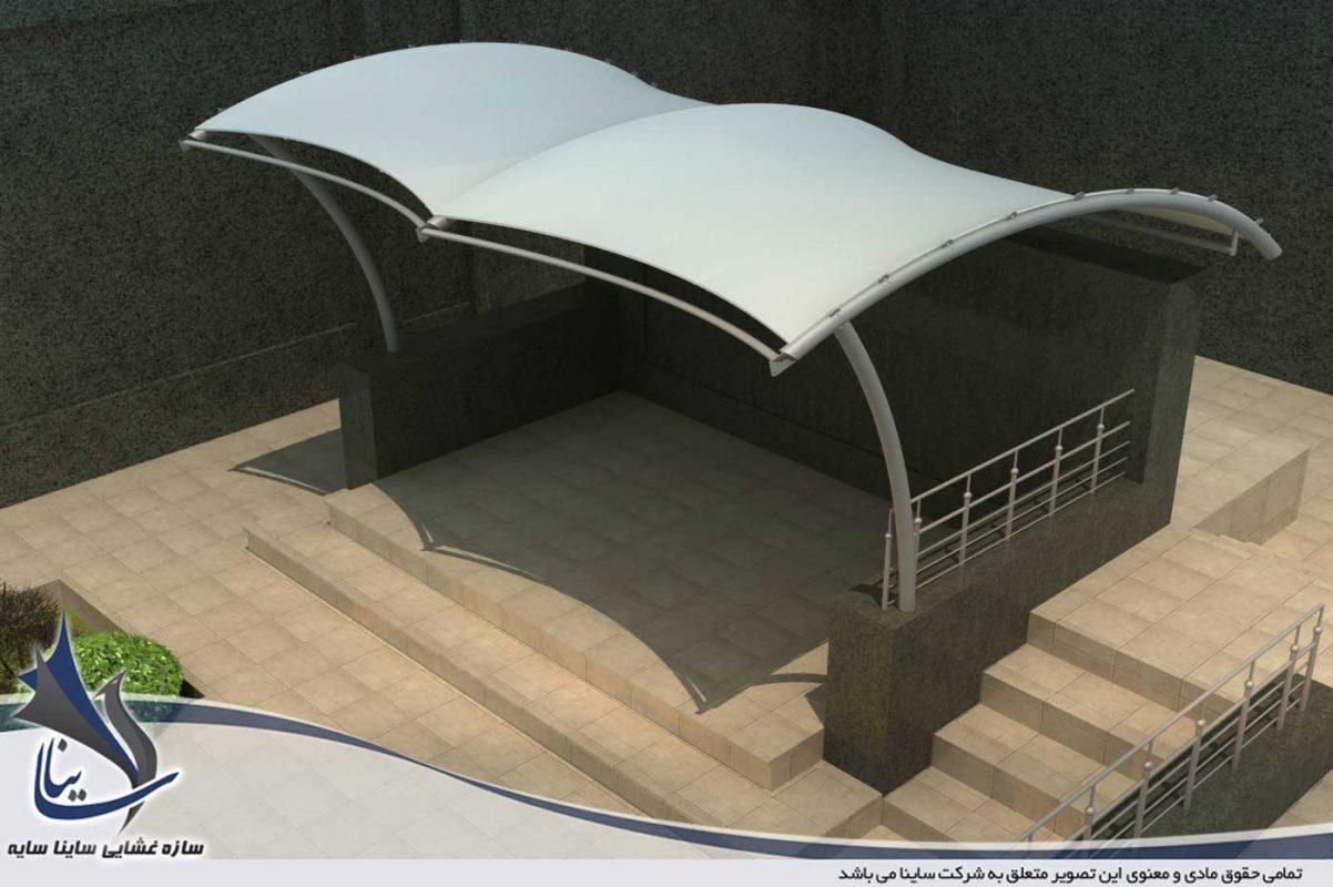مدل سازی سه بعدی سایبان و آلاچیق پارچه ای برای شرکت گاز حفاری شمال در پونک