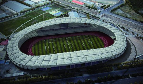 طراحی سه بعدی پوشش چادری سقف ورزشگاه امام رضا مشهد