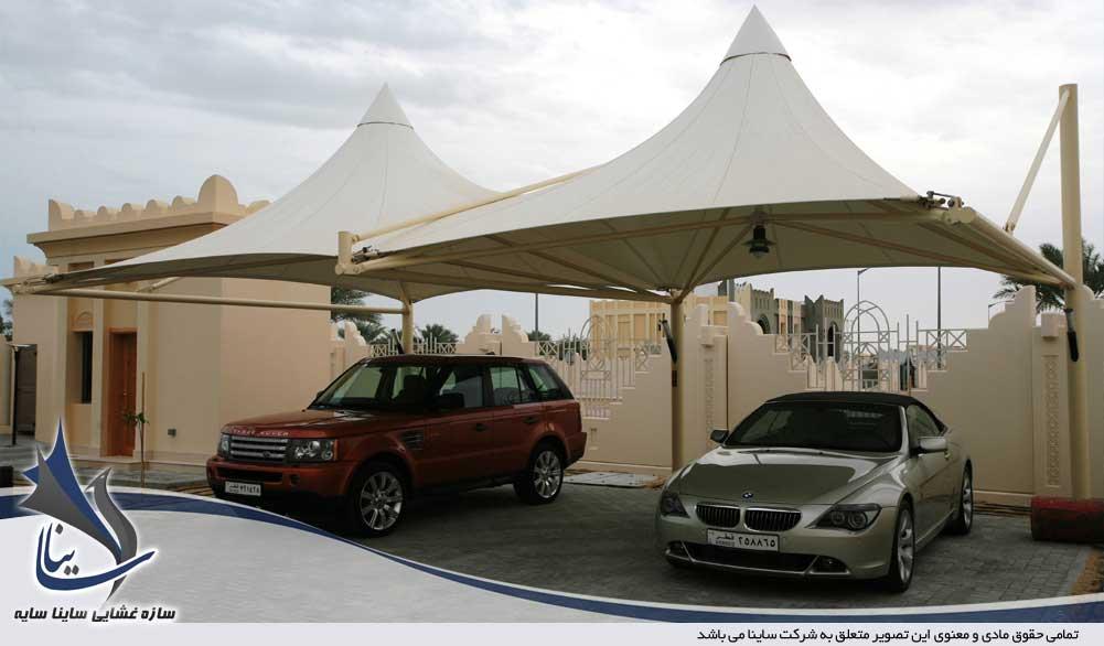 سایبان خودرو با سازه چادری