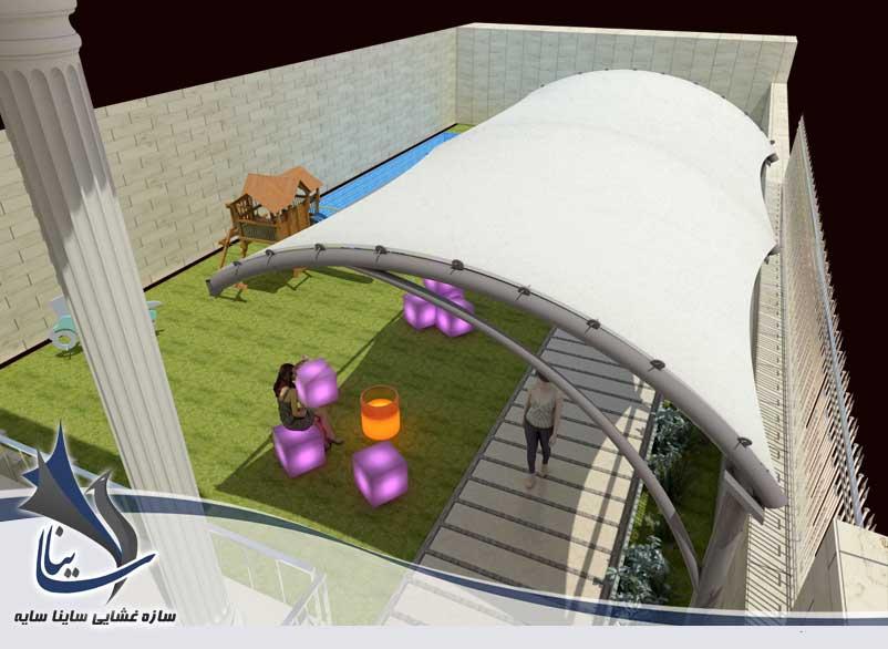 طراحی سه بعدی آلاچیق پارچه ای با فرم آرک در حیاط مهدکودک کلبه شکلاتی - فرمانیه