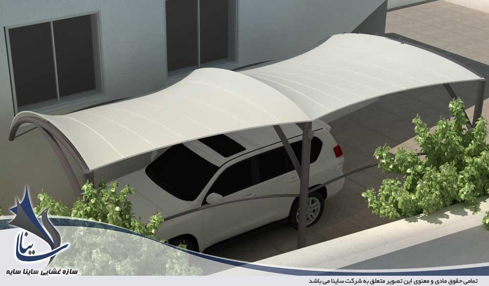 دانلود طراحی 3D سایبان پارچه ای پارکینگ خودرو - ویلا شهرک غرب