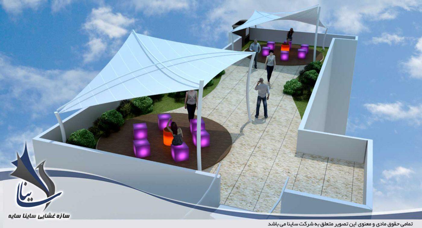 طراحی سه بعدی آلاچیق پارچه با فرم کایت برای روف گاردن ویلا - لواسان