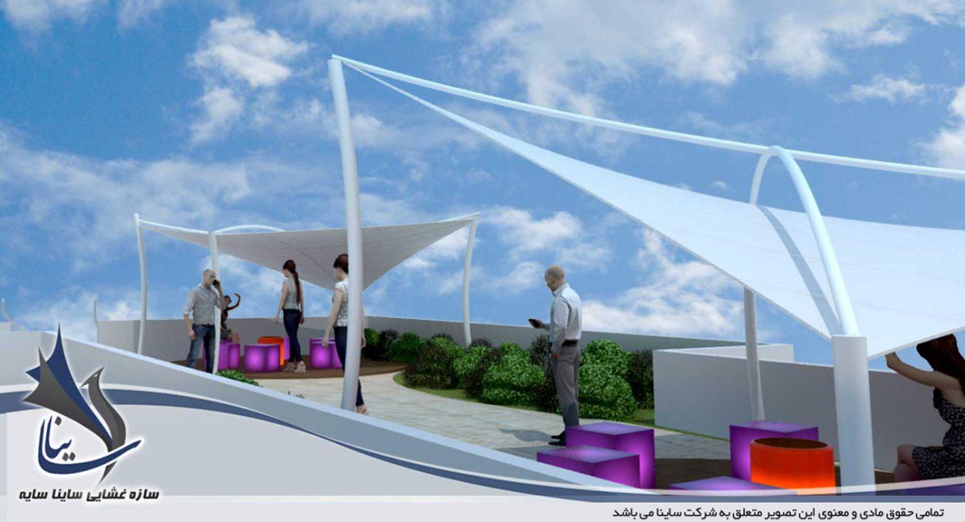 دانلود فایل طراحی سه بعدی سقف ویلا با سایبان و آلاچیق مدرن پارچه ای با فرم کایت - لواسان