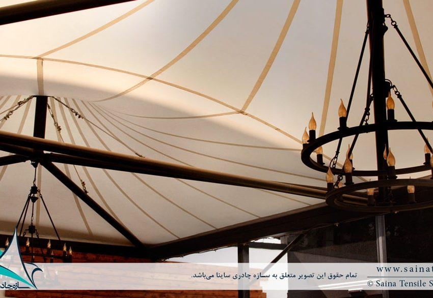سقف چادری کافه رستوران در ایستگاه نوآوری دانشگاه شریف