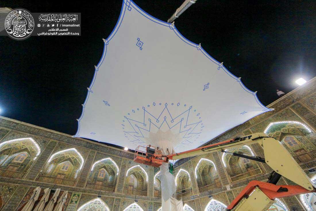 نصب سایبان جمع شونده حرم حضرت علی