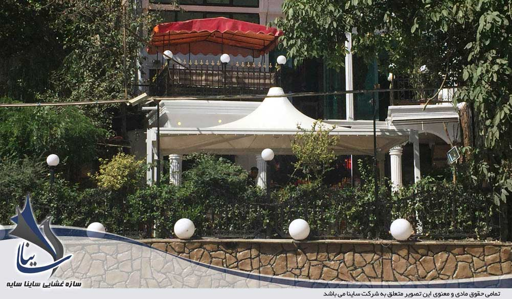 tensile fabric sunshade restaurant