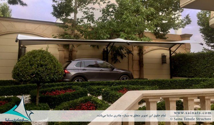 اجرای سایبان پارچه ای پارکینگ ماشین در شهرک باستی هیلز لواسان