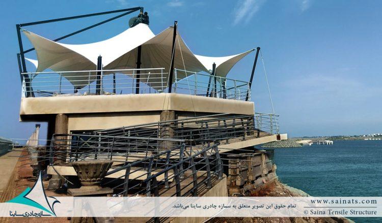 اجرای سازه چادری دکوراتیو موج شکن غربی بندر انزلی