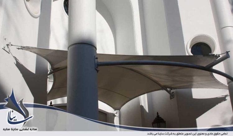 طراحی و اجرای سایبان چادری ورودی ساختمان آزمایشگاه مرکزی پاتوبیولوژی