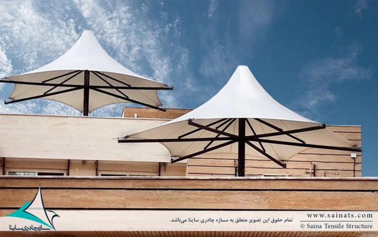 طراحی و اجرای آلاچیق چادری تراس مسکونی کرمان