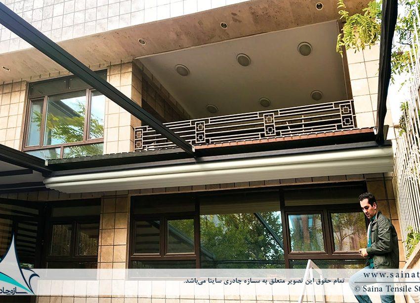 پروژه طراحی و اجرای سقف متحرک کافه نیاوران