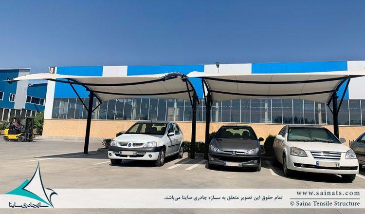 طراحی و اجرای سایبان پارکینگ ماشین کارخانه الکتروژن