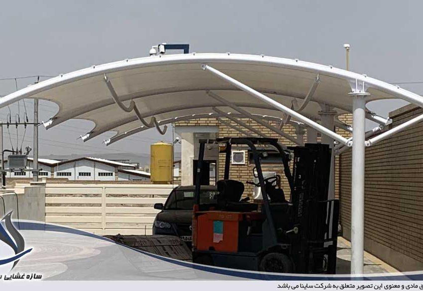 پروژه اجرای سایبان پارکینگ صنعتی در شهرک شمس آباد