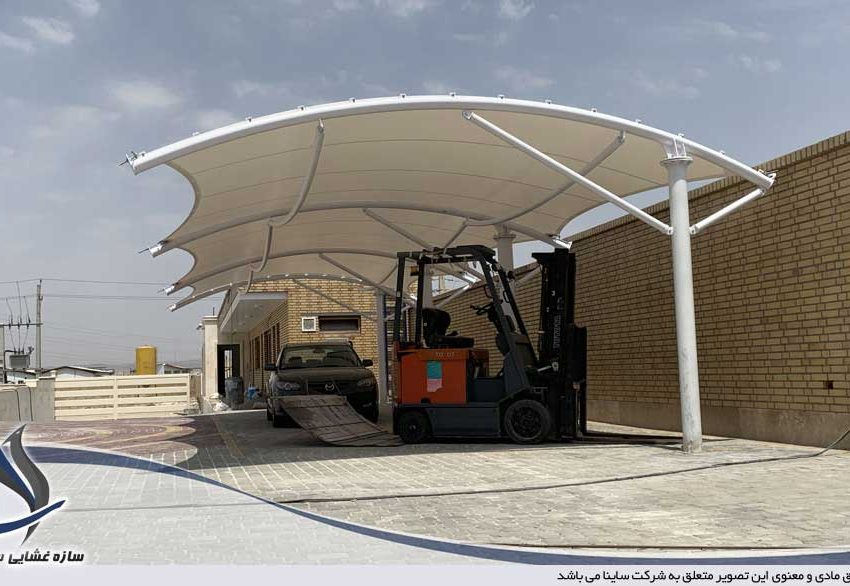 اجرای سایبان پارکینگ صنعتی در شهرک شمس آباد