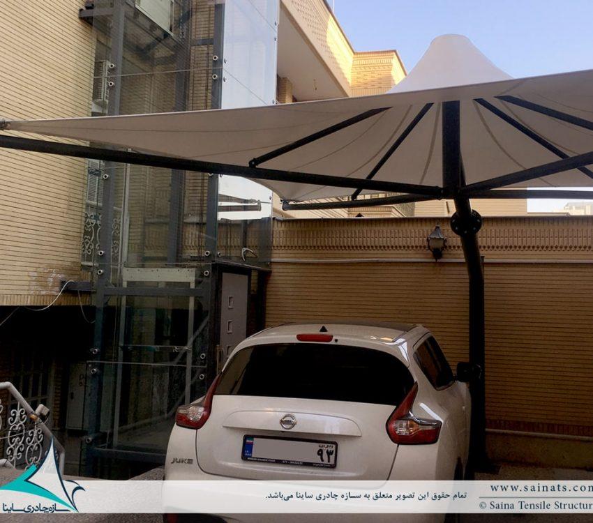 سایبان پارکینگ خودرو طرح خیمه شیراز