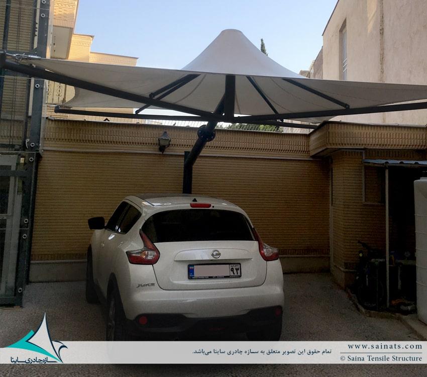 سایبان پارکینگ خودرو طرح خیمه