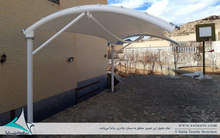 طراحی و اجرای سایبان پارکینگ ویلا در یزد
