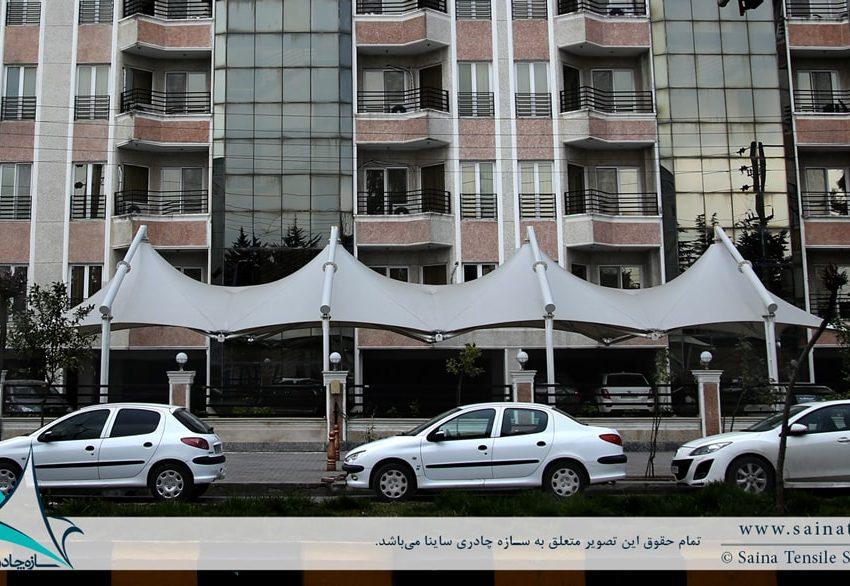 اجرای سایبان پارکینگ خودرو مجتمع مسکونی در نوشهر
