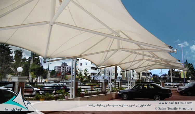 طراحی و اجرای سایبان پارکینگ خودرو مجتمع مسکونی در نوشهر