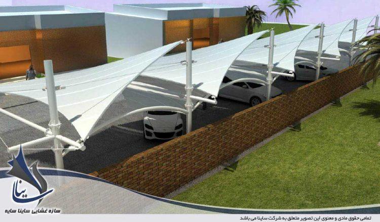 طراحی سایبان چادری پارکینگ در جزیره خارک