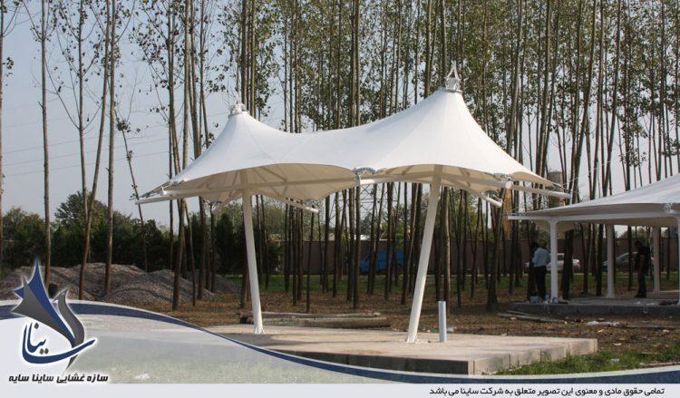 اجرای پروژه آلاچیق چادری ویلا طرح خیمه دو قله