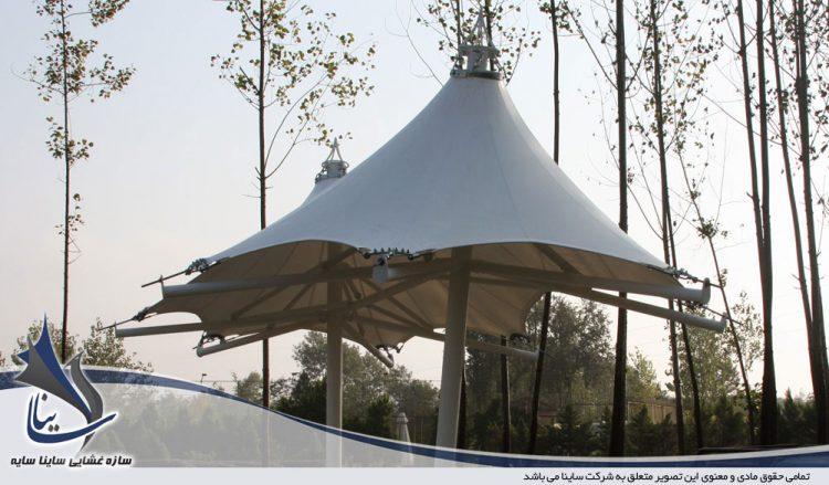 اجرای پروژه آلاچیق چادری ویلا طرح خیمه دو قله در رشت