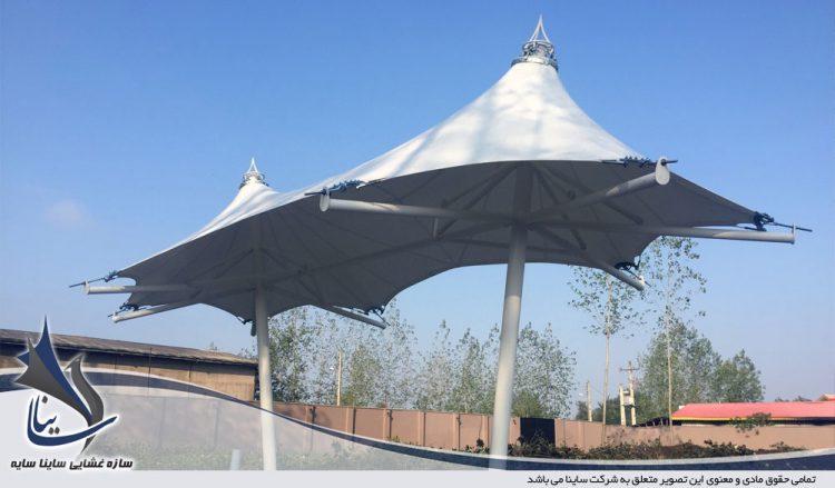 اجرای آلاچیق چادری ویلا طرح خیمه دو قله در رشت