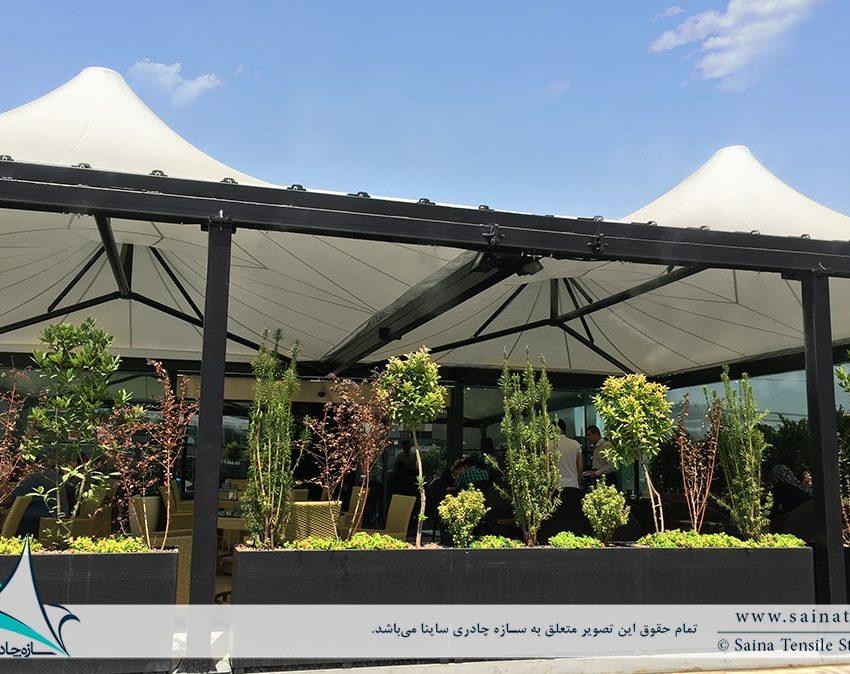 پروژه اجرای سقف چادری کافه رستوران ایزار در باغ کتاب تهران