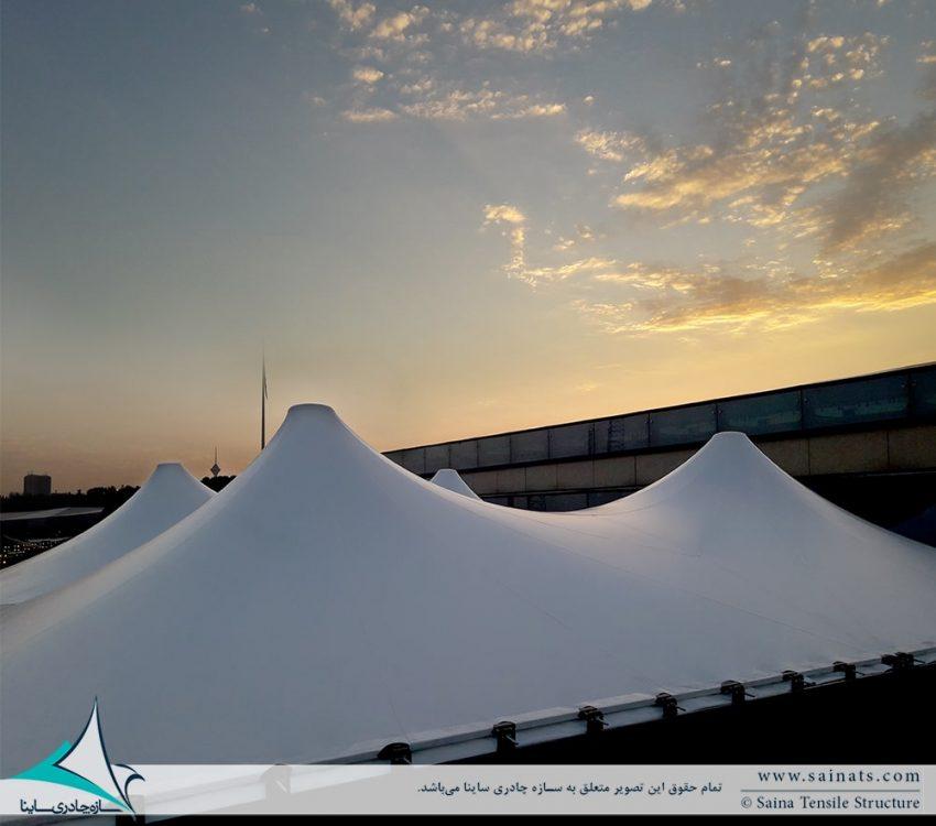 اجرای سقف چادری کافه رستوران ایزار در باغ کتاب تهران