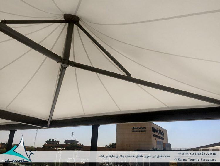 طراحی و اجرای سقف چادری کافه رستوران ایزار