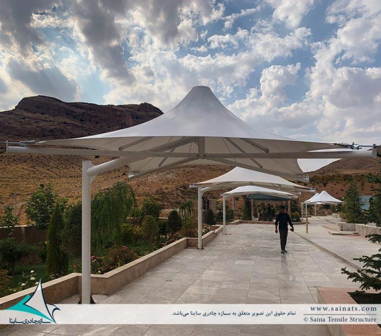 اجرای آلاچیق های چادری محوطه در اقامتگاه شیراز