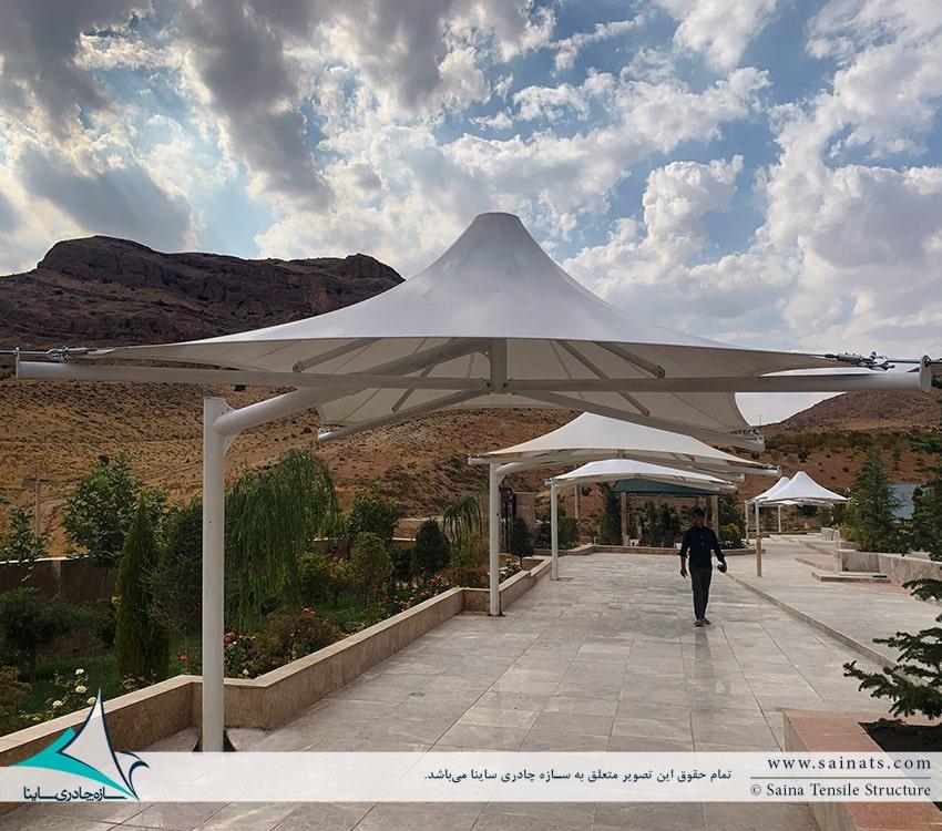 اجرای سایبان آلاچیق های چادری محوطه در اقامتگاه شیراز