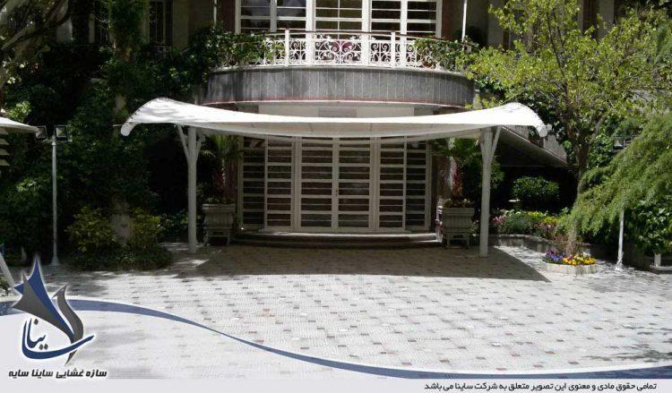 طراحی و اجرای سایبان چادری طرح آرک در زعفرانیه