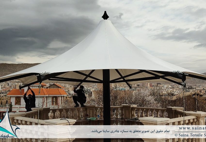 پروژه اجرای آلاچیق پارچه ای شهرک صدرا شیراز