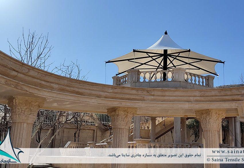 پروژه اجرای آلاچیق پارچه ای ویلا در شهرک صدرا شیراز