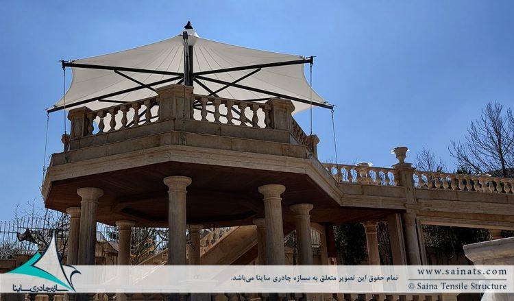 طراحی و اجرای آلاچیق پارچه ای ویلا در شهرک صدرا شیراز