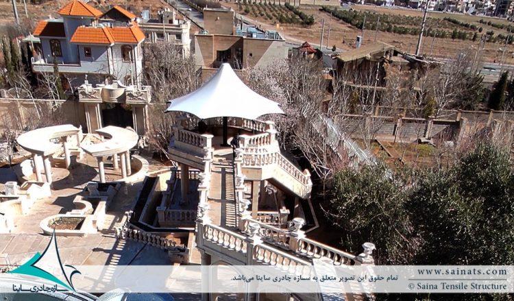 اجرای آلاچیق پارچه ای ویلا در شهرک صدرا شیراز
