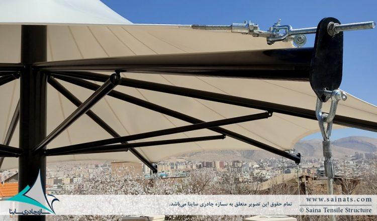 طراحی و اجرای آلاچیق پارچه ای شهرک صدرا شیراز