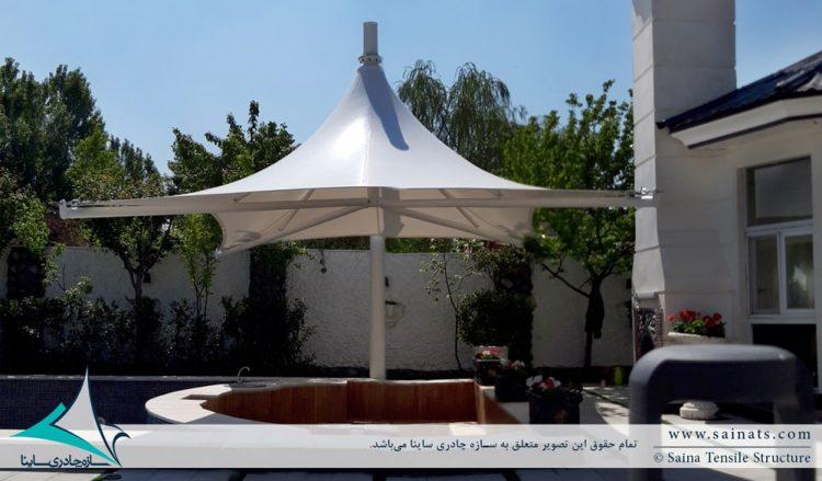 اجرای سایبان پارچه ای جکوزی ویلا در محمدشهر