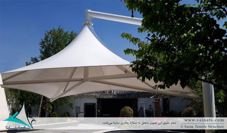 طراحی و اجرای سایبان پارچه ای جکوزی ویلا در محمدشهر