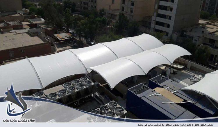 سازه چادری بانک تجارت اهواز شرکت گوپله
