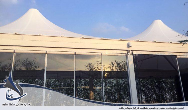 طراحی و اجرای آلاچیق چادری روف گاردن