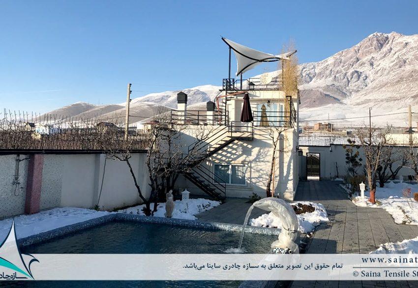پروژه اجرای سایبان پارچه ای پشت بام ویلای شخصی در آبسرد